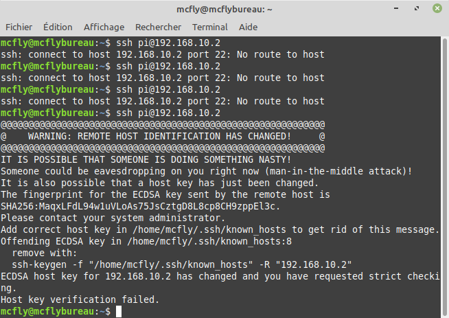 Erreur SSH Linux