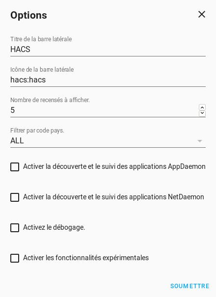 HACS Options